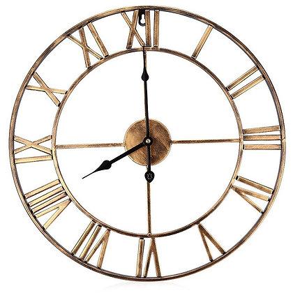 Horloge Industrielle Dorée Chiffres Romains Iron Clock