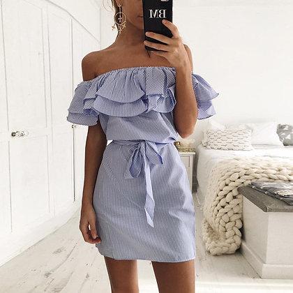 Robe Rayée Épaules Dénudée Taille Nouée Off Shoulder Dress Paola