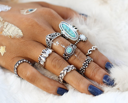 Set de 9 Bagues Gypsy Silver Turquoise Stones Rings Ethnic Bali