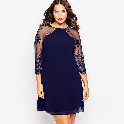 Robe Fluide Manches en Dentelle Plus Size Lace Blue Dress