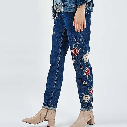 Jeans Taille haute Brodé Roses Fleuri Dark Embroidered Jeans Gyspy