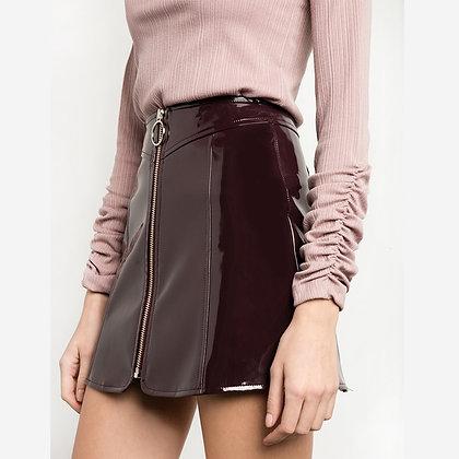 Jupe Bordeaux en Vynil Taille Haute Anneau Burgundy Leather Skirt Ornella