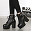Bottines Plateforme Lacées Cloutées Zip Cuir Rock PU Leather Studded Boots