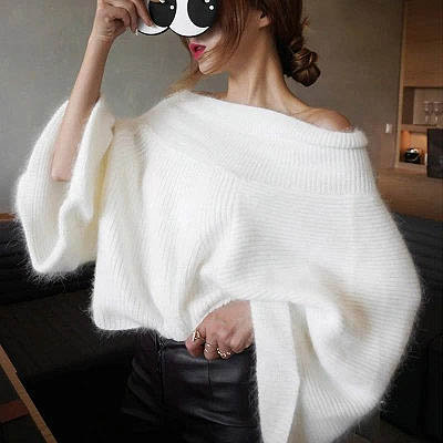 Pull Manches Larges Épaules Nues Off Shoulders Knitted Pullover Sweety