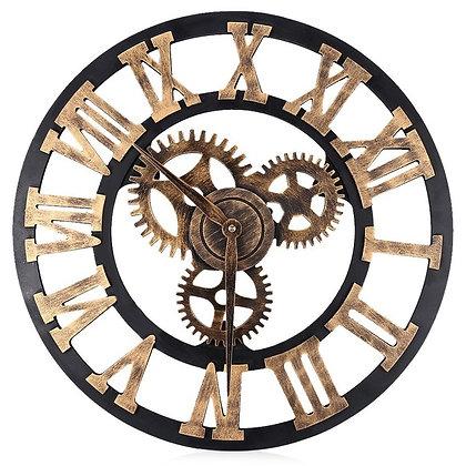 Horloge Massive en Métal Industrielle Dorée Chiffres Romains Rouages