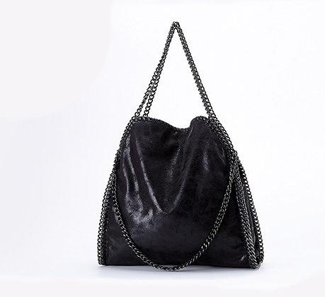 Grand Sac en Cuir Chaîne - Noir 35x40cm