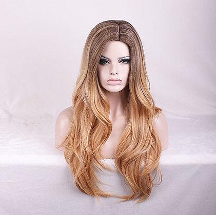 Perruque Forte Densité Capillaire Cheveux Blonds Dégradé Miel