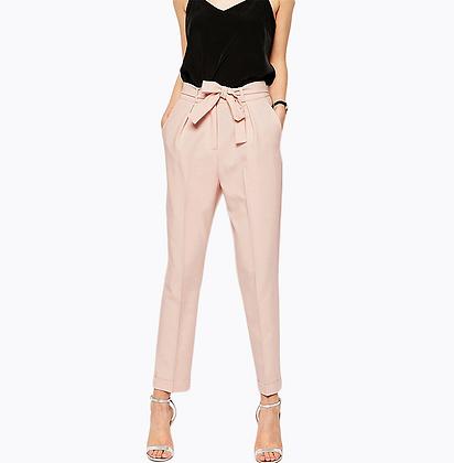 Pantalon Taille Haute Carotte Ceinture Rose Nude