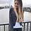 Veste en Jeans Rock Gris Cloutée Caroline Receveur Denim Studded Jacket
