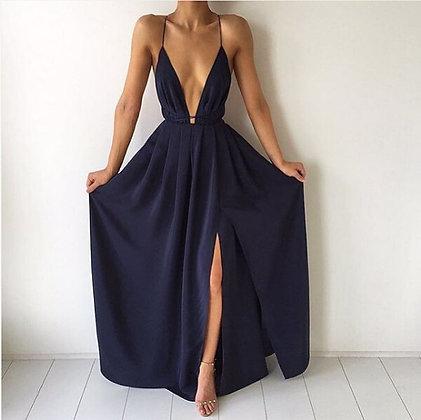 Robe Maxi Décolletée Fendue Long V-neck Backless Dress