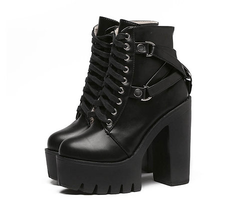 Bottines Plateformes Anti-dérapantes Lacées Cuir Rock PU Leather Boots