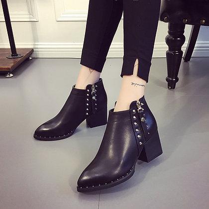 Bottines Cloutées Zip en Cuir Rock Grunge PU Leather Studded Boots