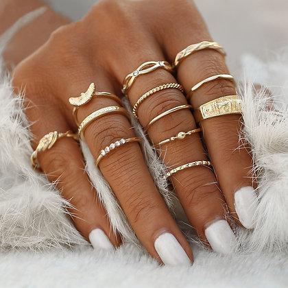 Lot de 12 Bagues Dorées Cleopatra Egypt Gypset Gold Rings