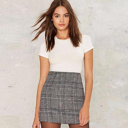 Jupe Droite Taille Haute à Carreaux Plaid Grey Skirt High Waist Office