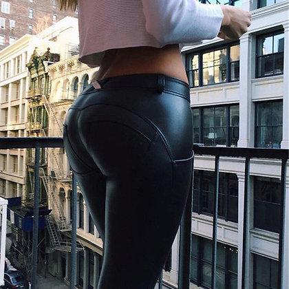Legging Noir Cuir Push-Up Fesses Rebondies Sport workout crossfit games outfit butt