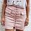 Jupe Rose Lacée Taille Haute en Daim
