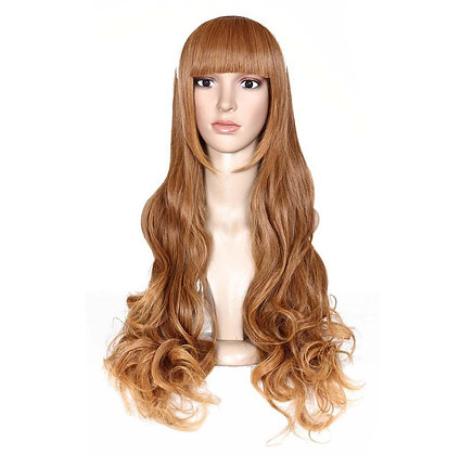 Longue Perruque Blond Foncé Ondulée avec France droite blonde wavy cooper wig