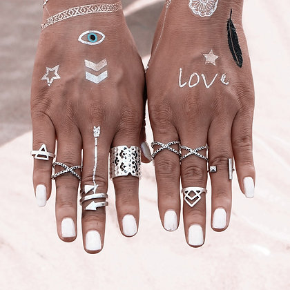 Set de 8 Bagues Ethnic Dixi Frexy Silver Rings
