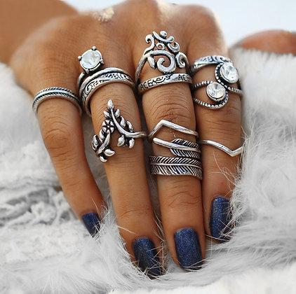 Set de 7 Bagues Gypsy Silver Stones Rings Ethnic Addabya