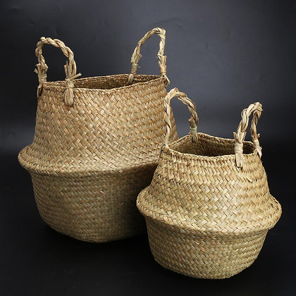 Lot de 2 Paniers en Rotin Thaïlandais Rangement Bohème 38 et 29cm