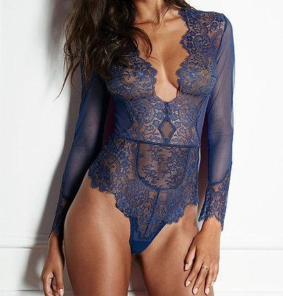 lingerie body en dentelle manches longues décolleté plongeant body sexy femme 2018 lace bodysuit quality