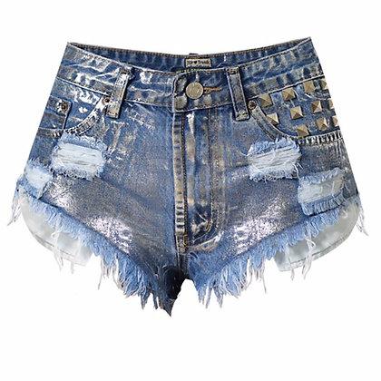 Short en jeans riveté clouté destroy métallique argenté original sexy 2018 mode été