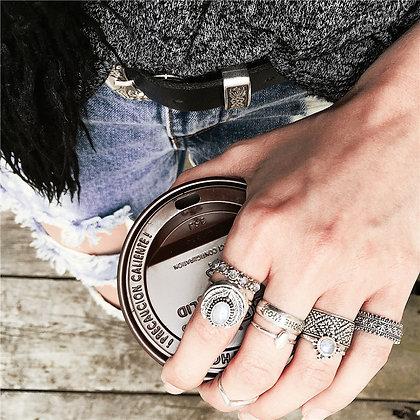 Set de 7 Bagues Inlaid Jade Lone Wolf Amenapi Silver Rings