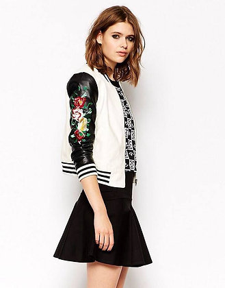 Veste Baseball College ml Brodée Simili Cuir Bicolore Embroidered Jacket VE63