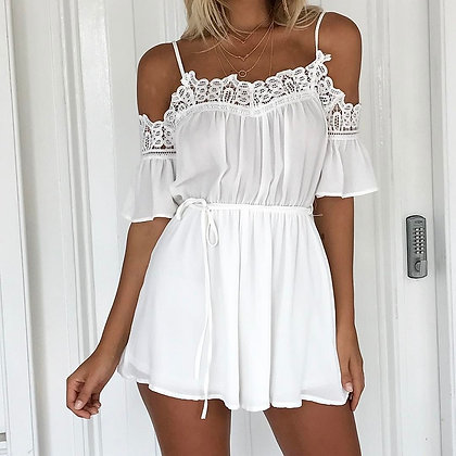 Combishort Blanche Epaules Nues Dentelle White Playsuit Dulce