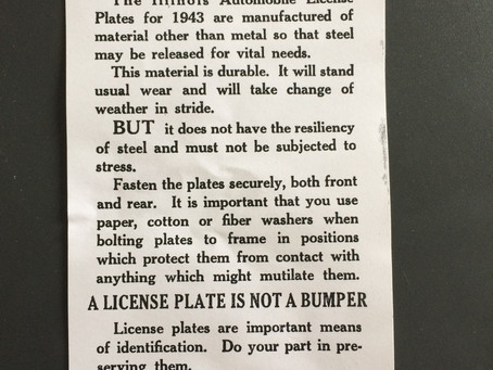 1943 Note from Sec of State about non-metal plates