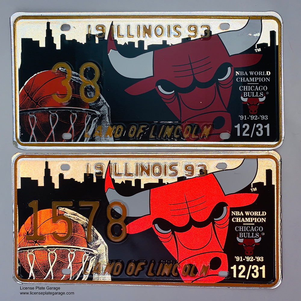 Chicago Bulls License Plate 1993