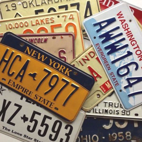Craft Old License Plates 10-Pack 8-9 State Variety Lot