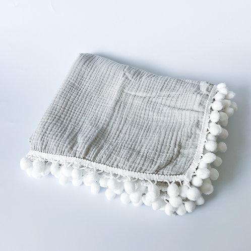 Personalised Pom Blanket - Morning Grey