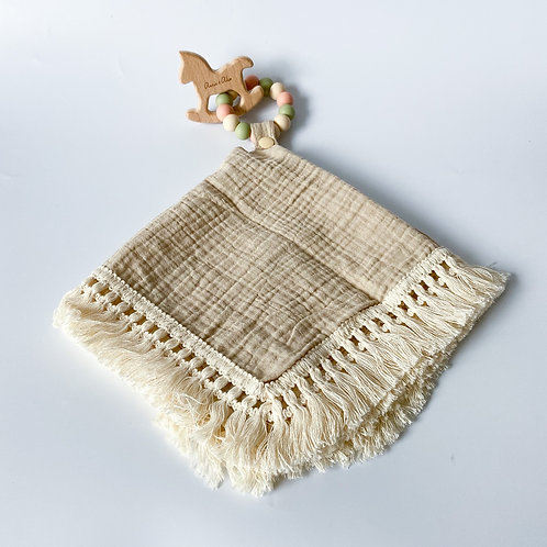 Personalised Frilly Taggie Blanket + Engraved Teether Set - Khaki