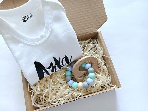 Personalised Baby Romper Gift Set - Standard Animal Teether