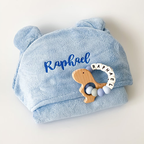Personalised Hooded Poncho Towel + Silicone Name Teether Set