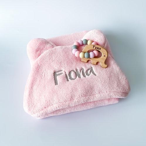 Personalised Hooded Wrap Towel + Engraved Teether Set
