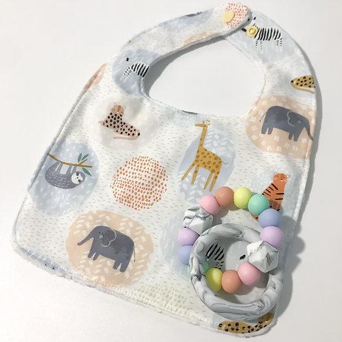 Animal Teether + Bib Gift Set