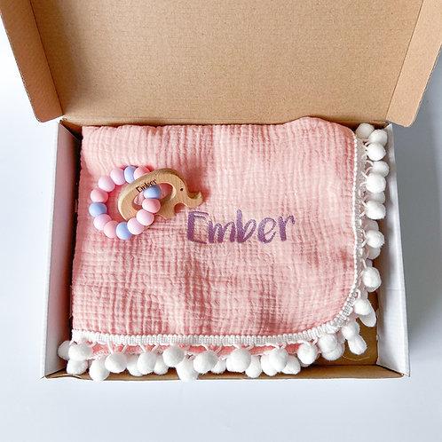 Personalised Pom Blanket + Engraved Teether Set - Baby Pink