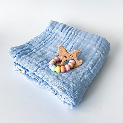 Personalised 6-Layer Blanket + Engraved Teether Set