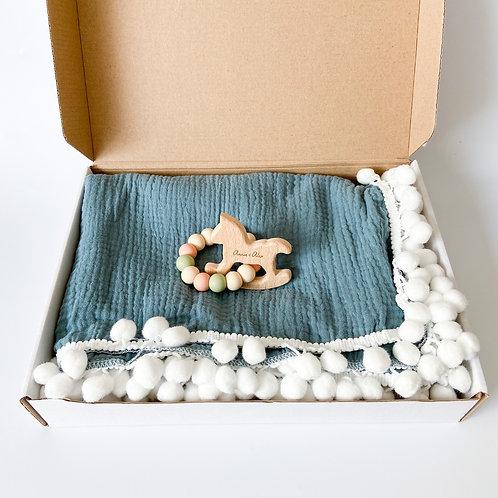 Personalised Pom Blanket + Engraved Teether Set - Dusty Blue