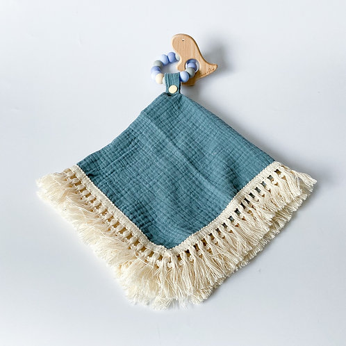 Personalised Frilly Taggie Blanket + Engraved Teether Set - Dusty Blue