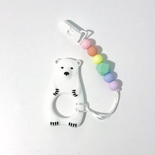 Polar Bear Silicone Teether Clip