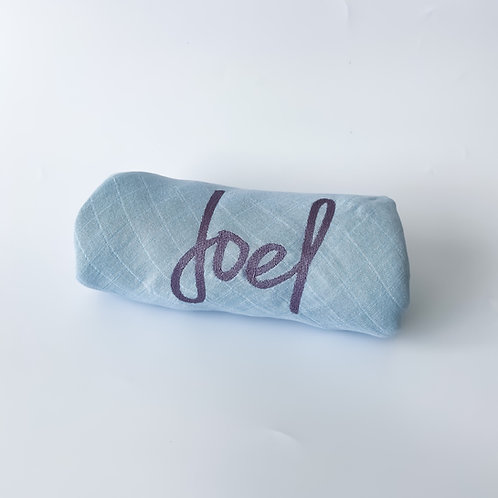 Embroidered Name Swaddle Blanket - Dusty Blue