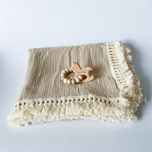 Personalised Frilly Blanket + Engraved Teether Set - Khaki