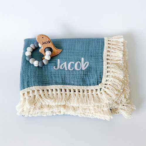 Personalised Frilly Blanket + Engraved Teether Set - Dusty Blue