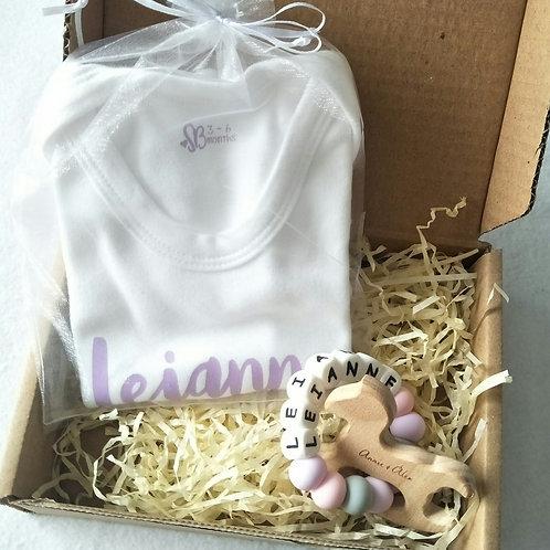 Personalised Baby Romper Gift Set - Animal Name Teether