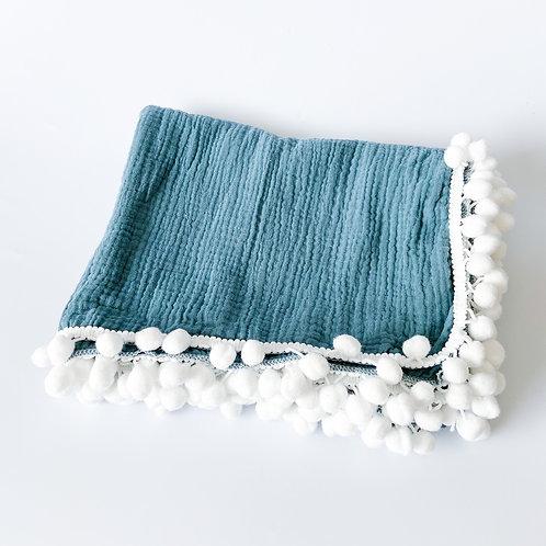 Personalised Pom Blanket - Dusty Blue