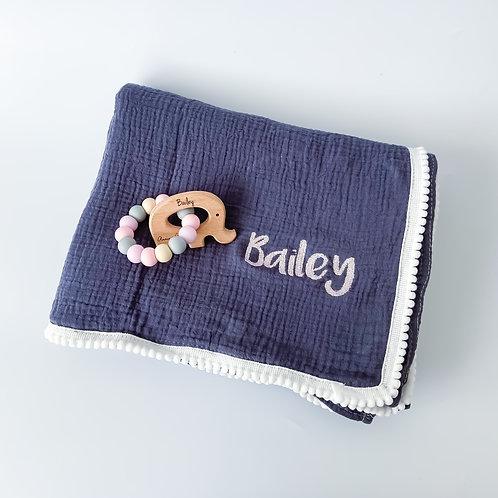 Personalised Pom Blanket + Engraved Teether Set