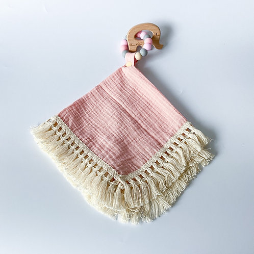 Personalised Frilly Taggie Blanket + Engraved Teether Set - Pink